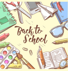 back to school doodle educational hand drawn vector image