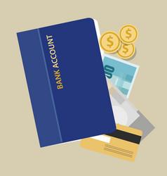 Bank account book statement paper money finance vector