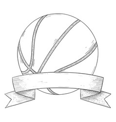 Basketball ball with ribbon banner hand drawn vector