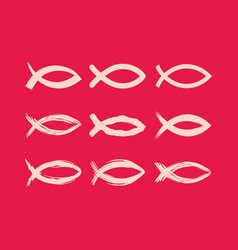 Big set of christian fish vector