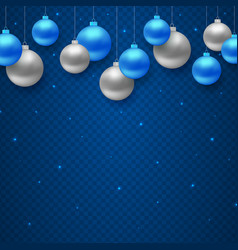 christmas decoration with hanging color balls vector image