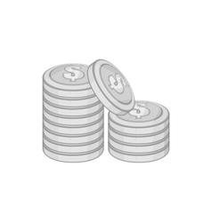 Coins icon black monochrome style vector