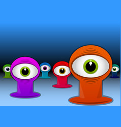 Colorful one-eyed creatures vector