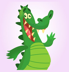 cool cartoon crocodile or dinosaur vector image