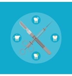 Dental instruments crosswise on color background vector image