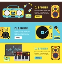 Dj audio music equipment banner vector