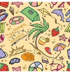 Doodle pattern summer vacation vector image vector image