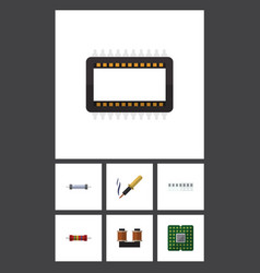 flat icon technology set of memory resistor vector image vector image