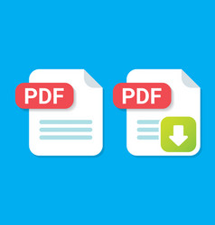 flat pdf file icon and pdf download icon vector image vector image