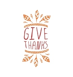 Give thanks - typographic element vector