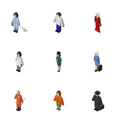 Isometric people set of hostess lady female and vector
