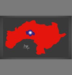 jiayi taiwan map with taiwanese national flag vector image vector image