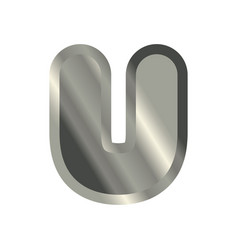 Letter u steel font metal alphabet sign iron abc vector