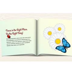 Open book with flowers and butterfly vector image