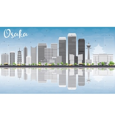 Osaka skyline with gray buildings vector