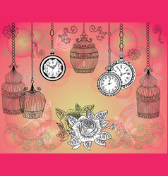 romantic vintage background with cages vector image vector image