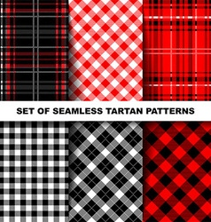 Set of seamless tartan patterns vector image