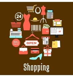 Shopping and retail commerce icons vector