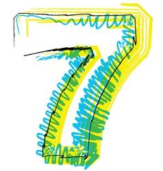 Sketch font Number 7 vector image