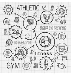 Sport hand draw integrated icons set vector image vector image