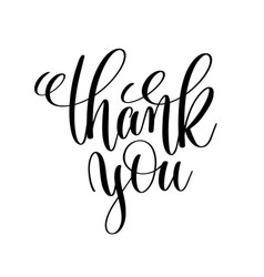 Thank you black and white handwritten lettering vector