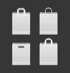white paper shopping bag set vector image vector image