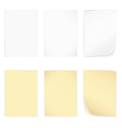 Yellow and whire stick blank note paper set vector