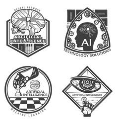 Vintage artificial intelligence emblems set vector