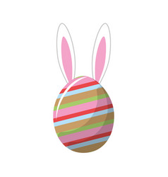 rabbit easter insite nice decorated egg vector image