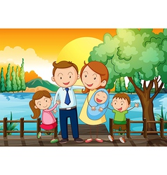 A happy family at the wooden bridge vector