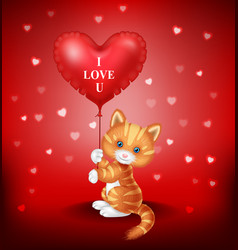 cartoon puppy holding red heart balloon vector image