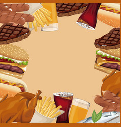 Poster border fast food different vector