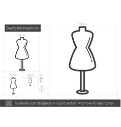 Sewing mannequin line icon vector