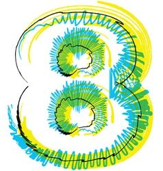Sketch font Number 8 vector image