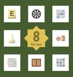 Flat icon games set of lottery labyrinth mahjong vector