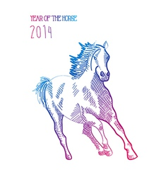 Multicolor chinese new year of horse 2014 isolated vector