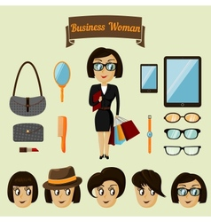 Hipster character pack for business woman vector