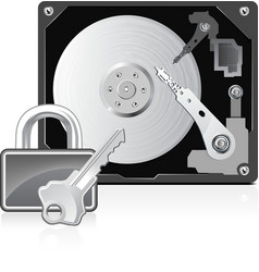 Computer hard drive and lock vector