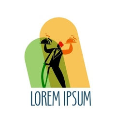 restaurant logo design template waiter or menu vector image
