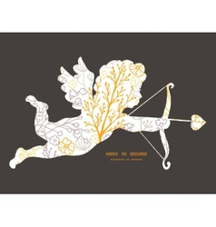 Magical floral shooting cupid silhouette vector