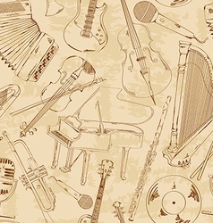 Seamless pattern of musical instruments vector