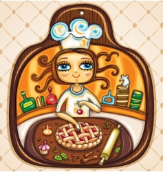 chef girl vector image