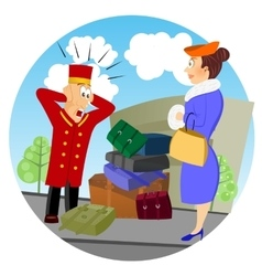 Confused business bellhop vector
