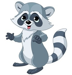 funny cartoon raccoon vector image