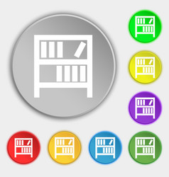Bookshelf icon sign symbols on eight flat buttons vector