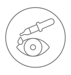 Pipette and eye line icon vector