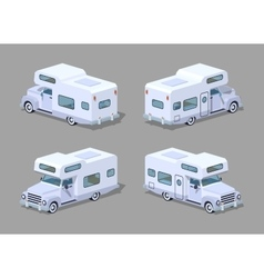 Low poly white motor home vector