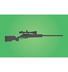 sniper rifle gun isolated with green background vector image