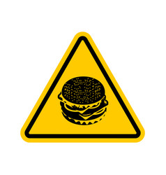 Attention hamburger dangers of yellow road sign vector