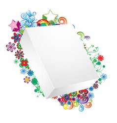 blank 3d box with floral vector image vector image